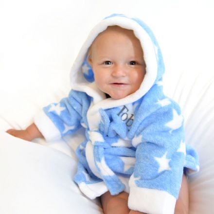 Personalised Star Soft Blue And White Dressing Gown